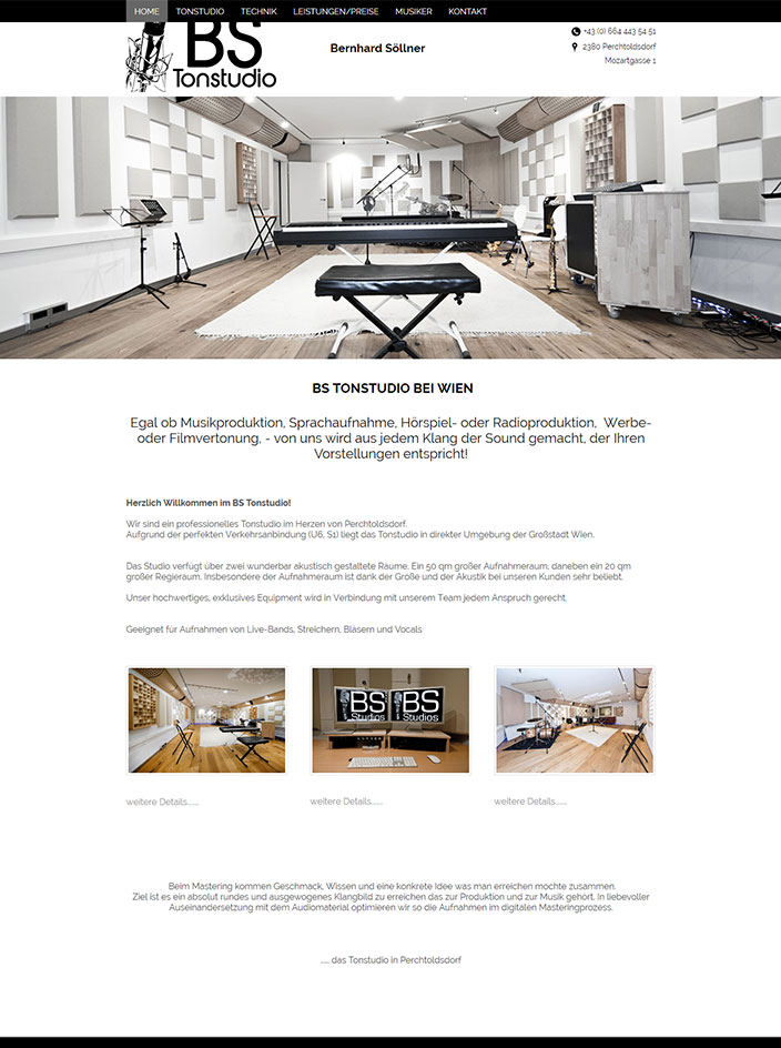 Webseite erstellt BS Tonstudio Wien