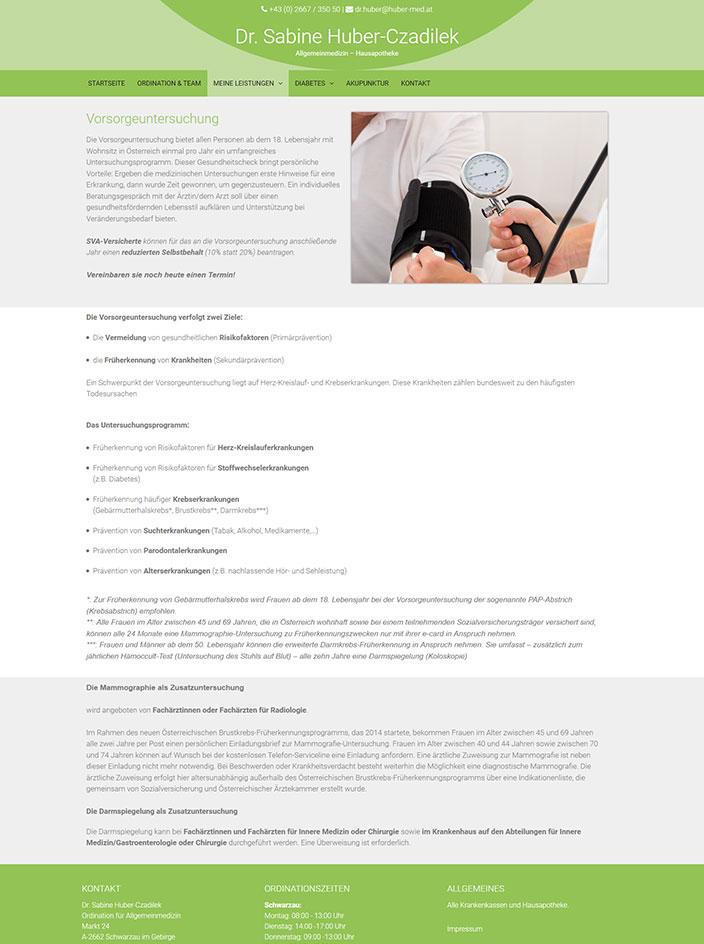 Webseite erstellt für Dr. Huber