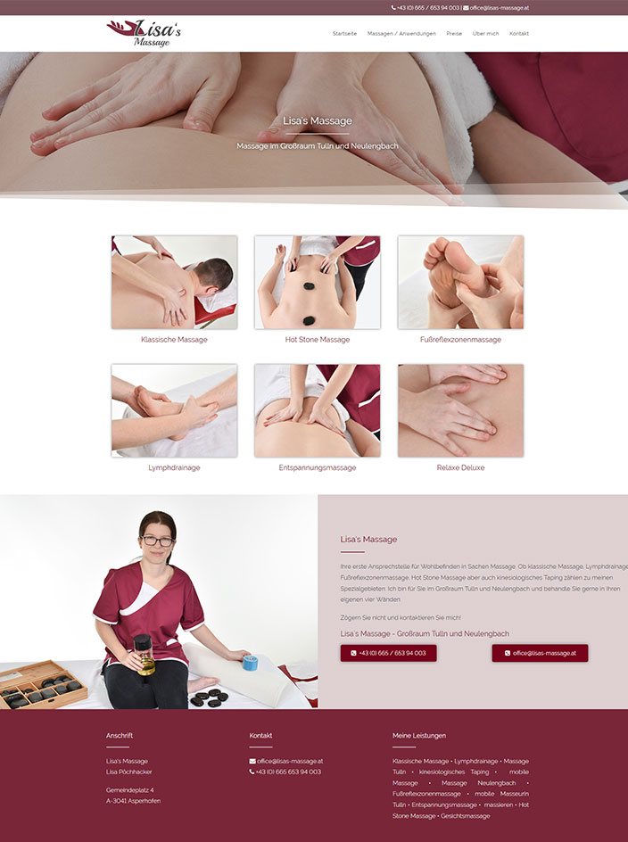 Massage Homepage erstellen